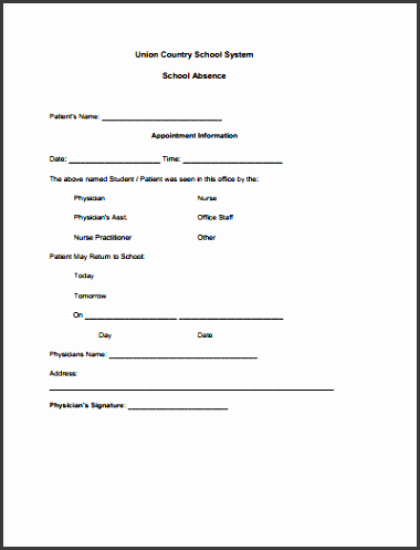 free doctors note for school template