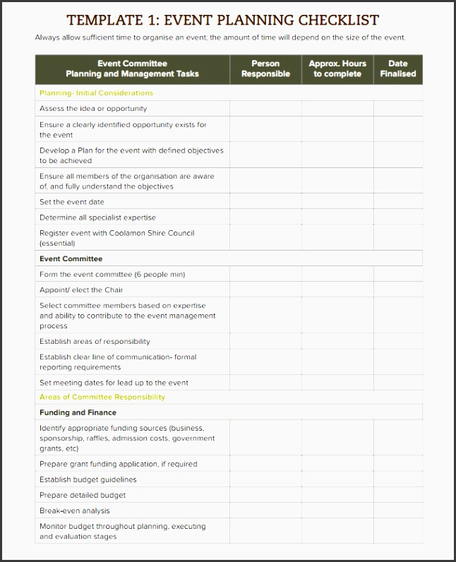 sample event planning checklist template