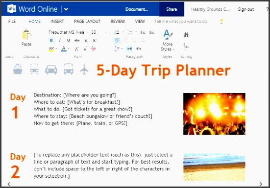 free trip planner template for microsoft word