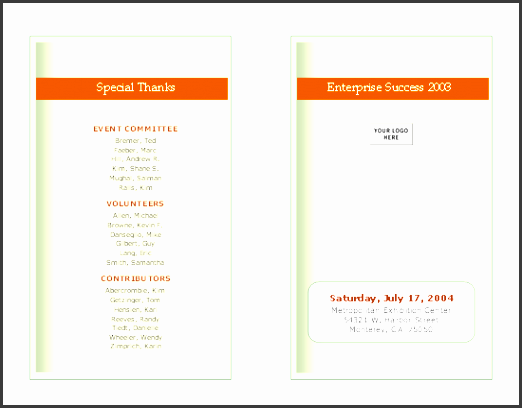 free event program template download