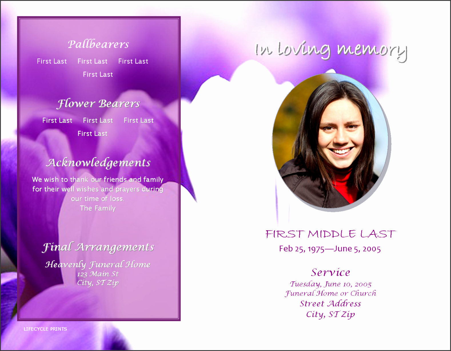 lifecycleprints inexpensive funeral program template