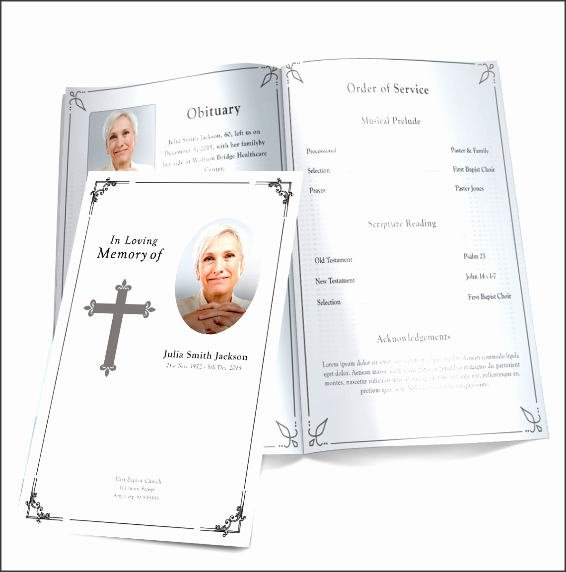 traditional cross funeral program template