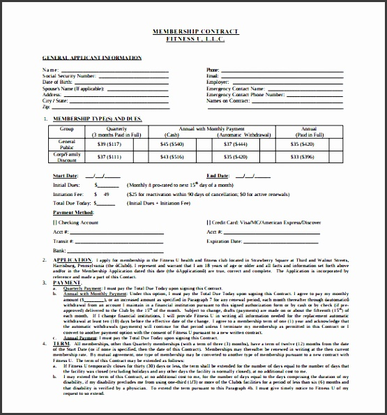 free prinable fitness membership gym contract template