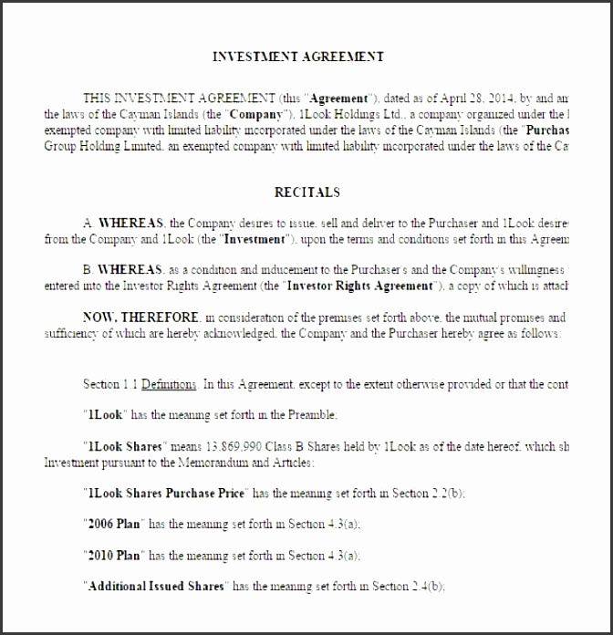 sample business investment contract template free