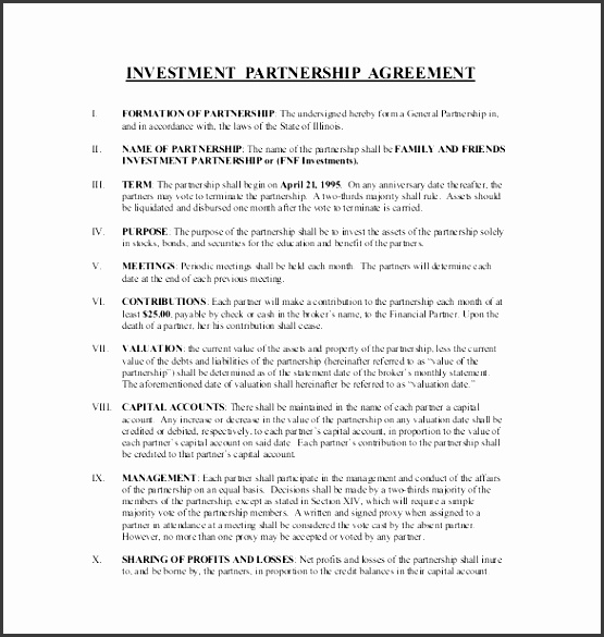 example investment agreement template