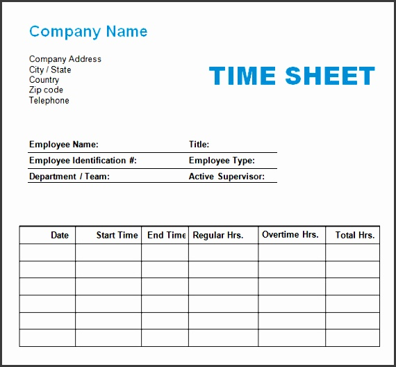 time logging sheet