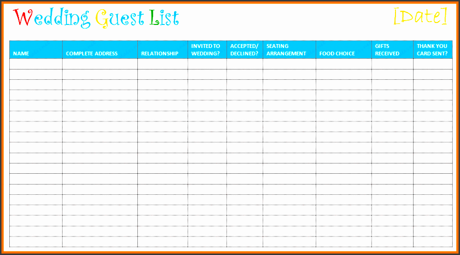 excel guest list
