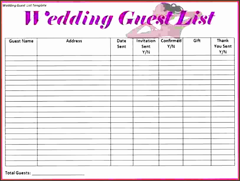 5 downloadable wedding guest list template