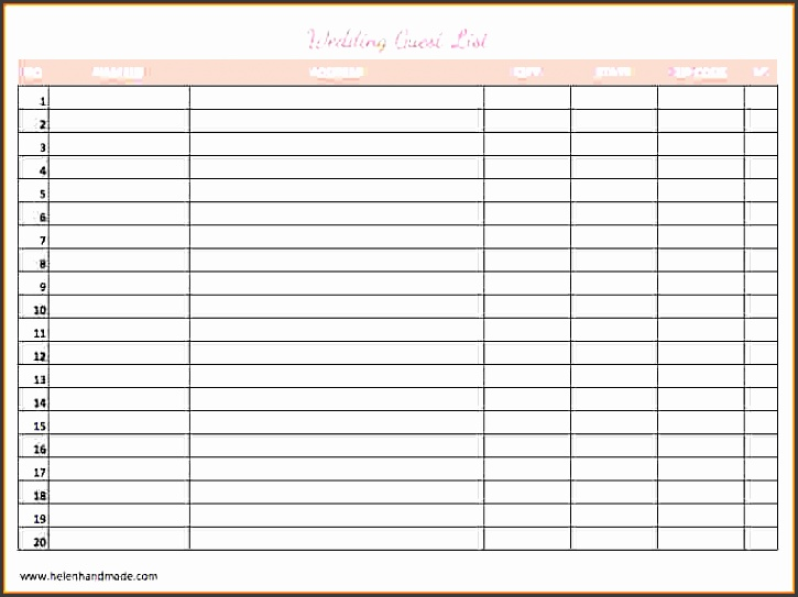free printable wedding guest list templates