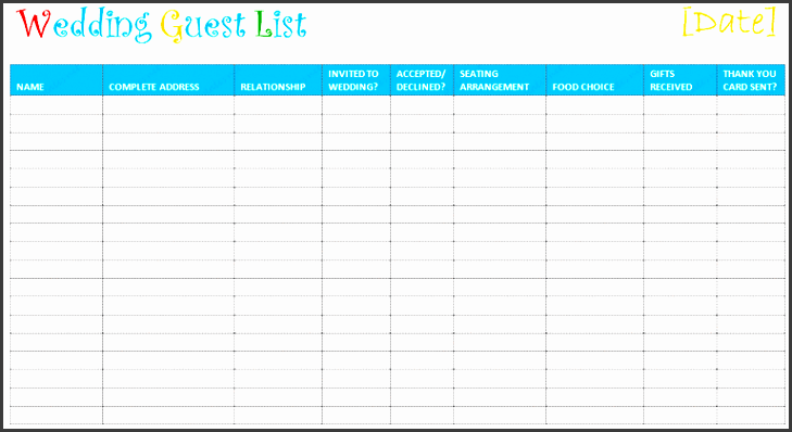 picture of a free wedding guest list at document templates
