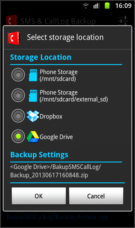 sms call log backup screenshot