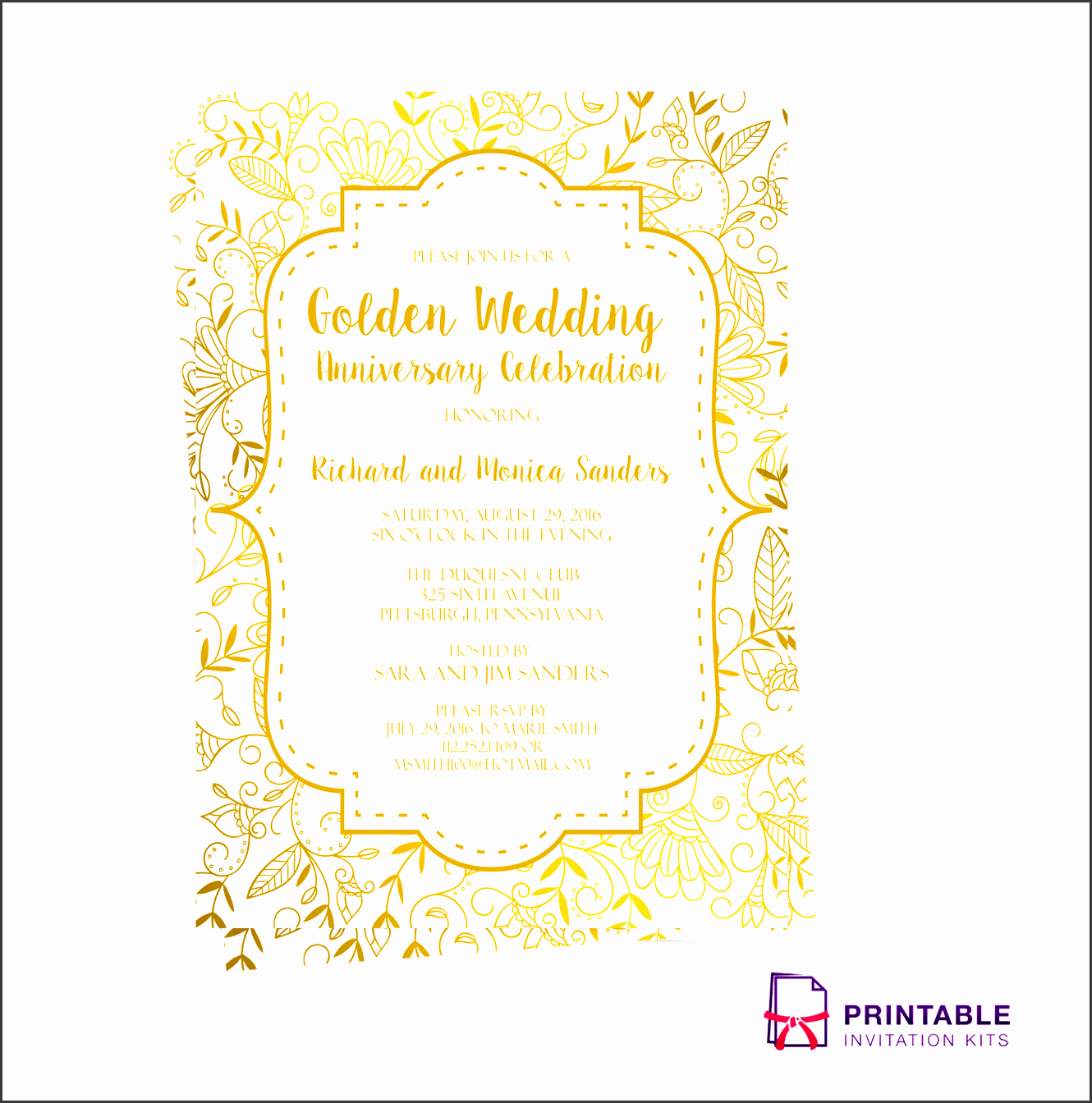 free pdf template golden wedding anniversary invitation template easy to edit and print at home