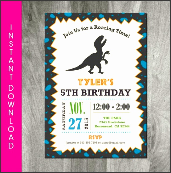 a self editable personalized dinosaur birthday invitation is a sample template that you can edit online print and then distribute to those who you would