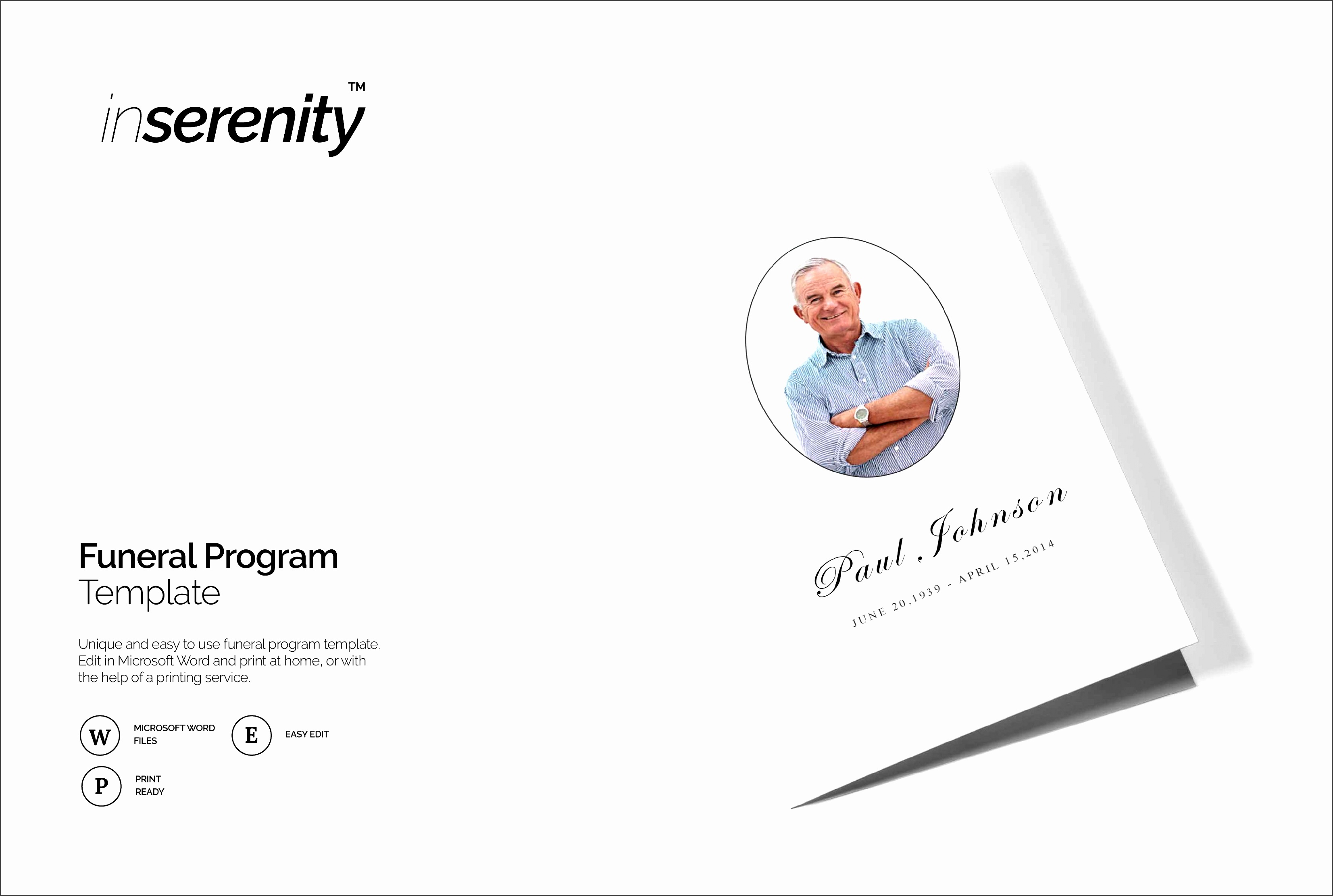 funeral program template bi fold brochure templates creative market