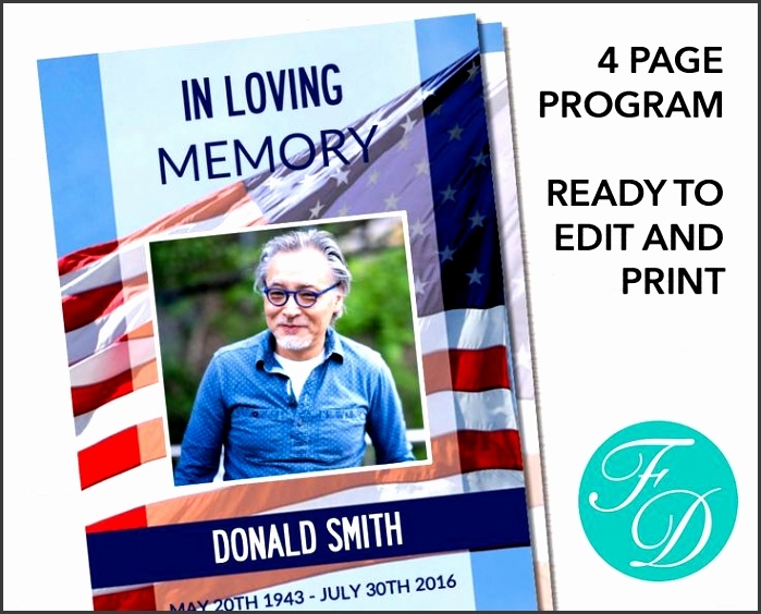 american flag funeral program ready to edit print simply purchase your funeral templates