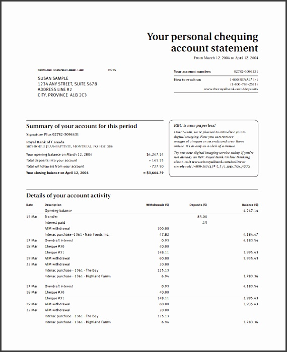 account statement template