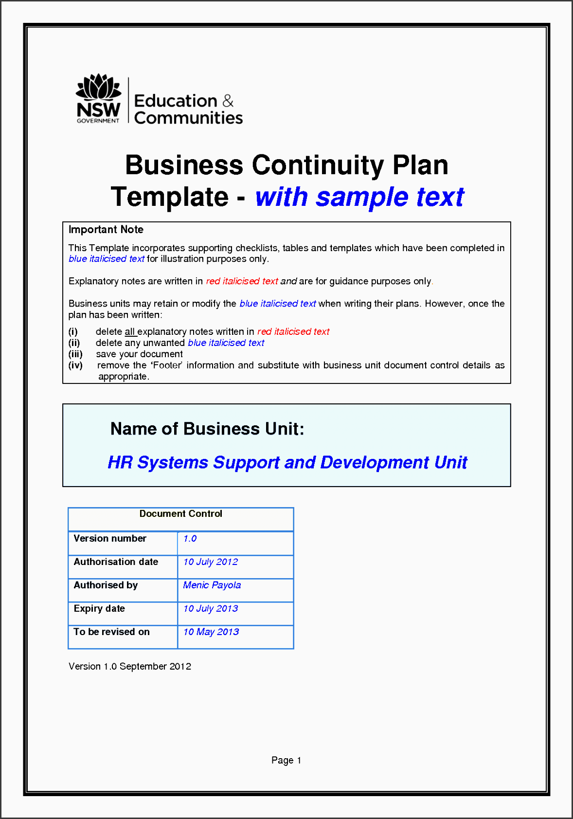 disaster recovery plan template example for small business business continuity plan template