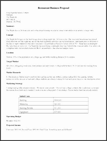 restaurant business proposal