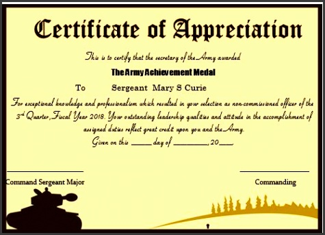 certificate of appreciation army template
