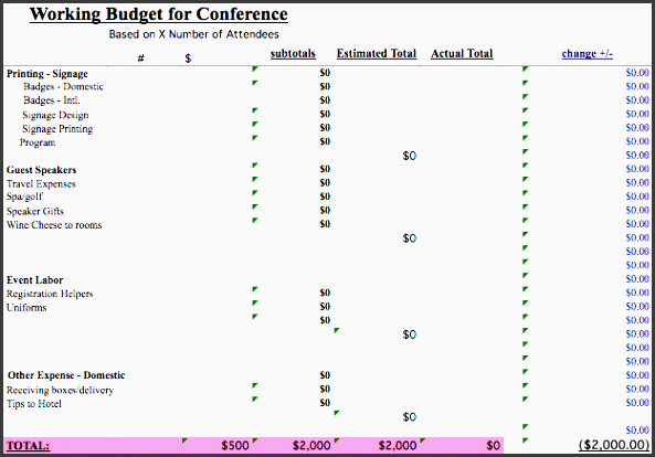 conference event bud template