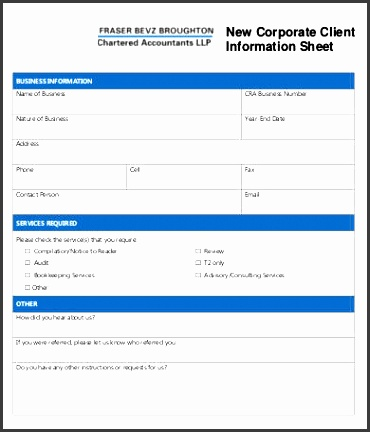 new corporate client information sheet template