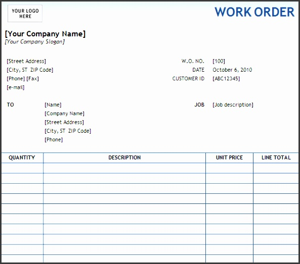 use this work order form template to track your work order progress add the work order contact information and line item details in this sample work order
