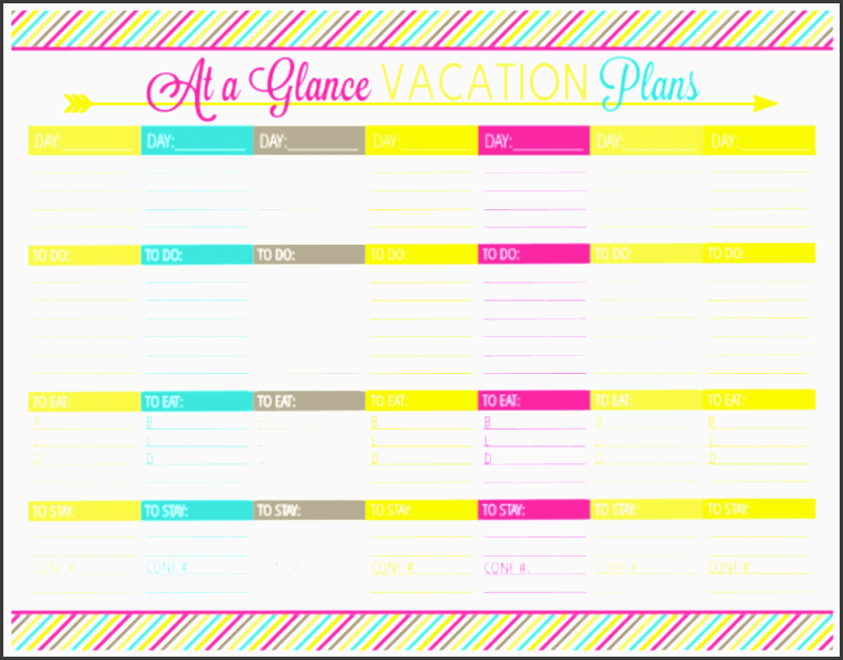 vacation planning printable pack