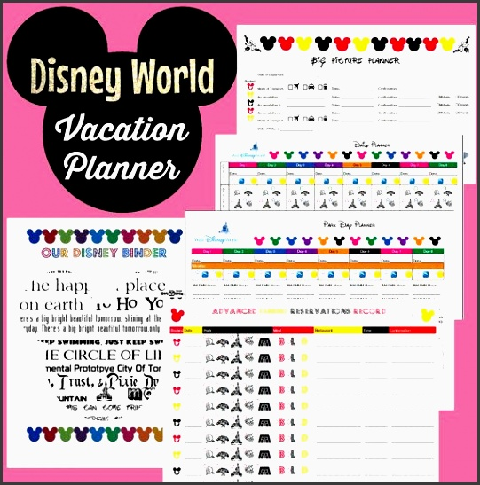 disney world vacation planner binder set for 8 day trip instant editable pdf revised for 2016 binder pages