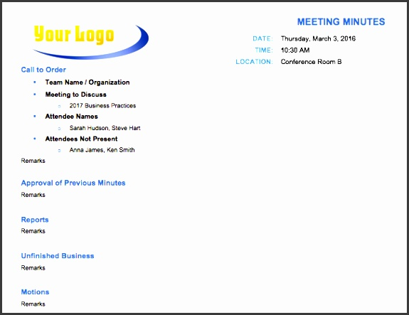 classic meeting minutes template