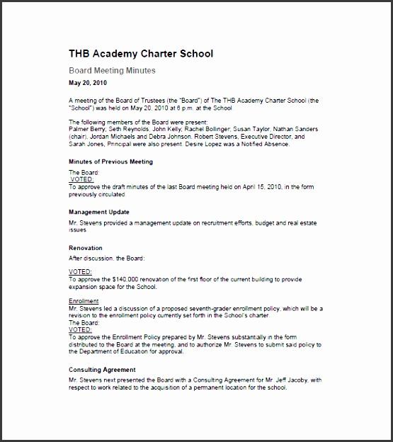 school board of directors meeting minutes template format