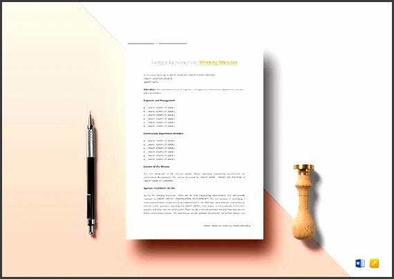 editable construction meeting minutes template