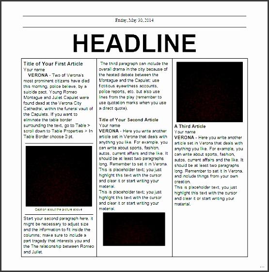 docs newspaper template editable elementary school doc splendid