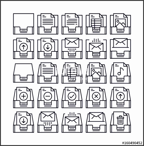 set of mailbox and message outline icon design all icon designed on 64x64 pixel perfect
