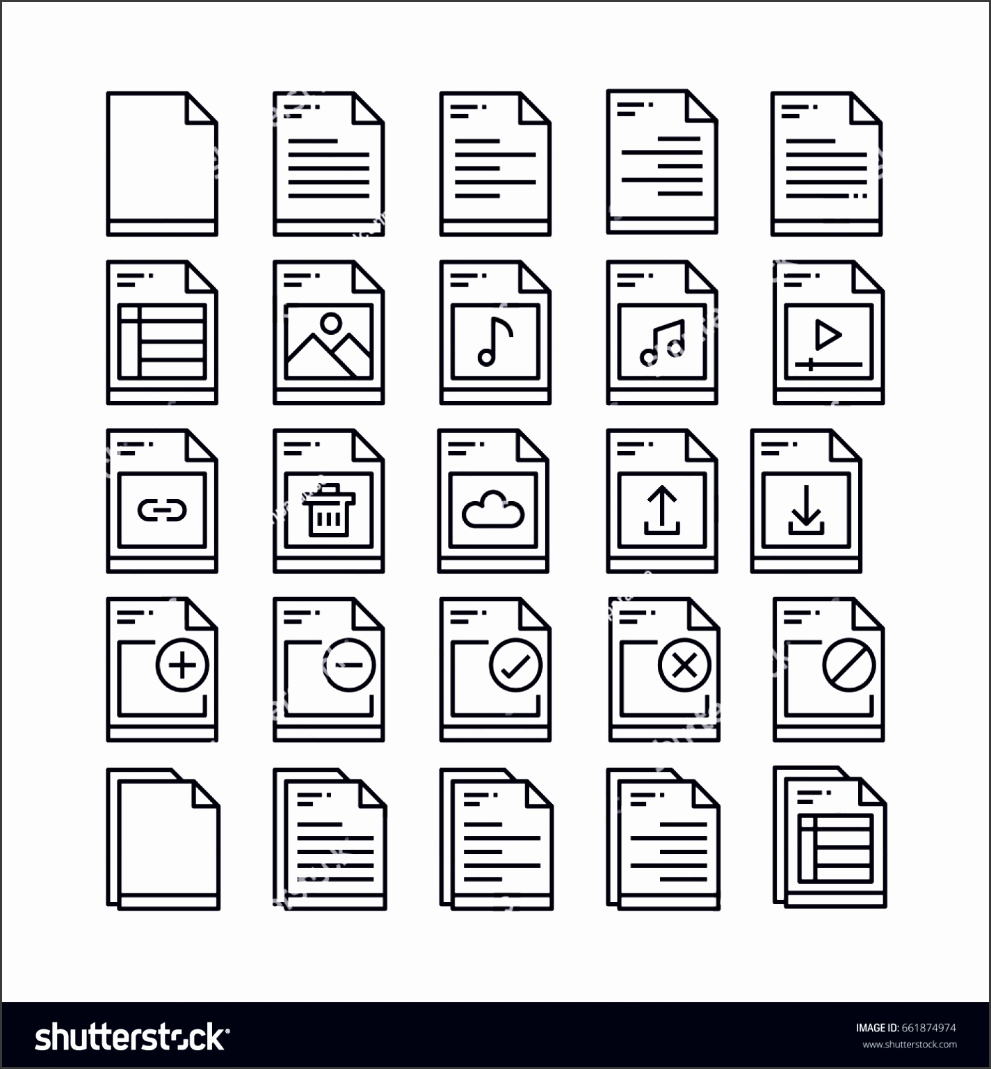 set of file and document outline icon design all icon designed on 64x64 pixel perfect