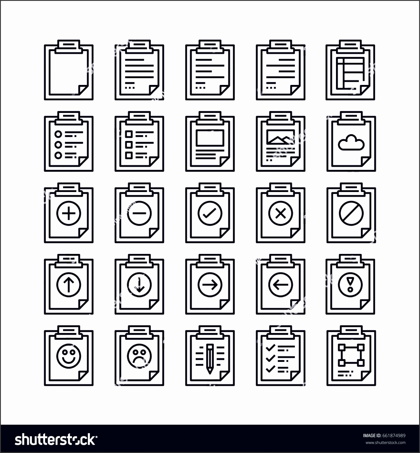 set of clipboard outline icon design all icon designed on 64x64 pixel perfect icon