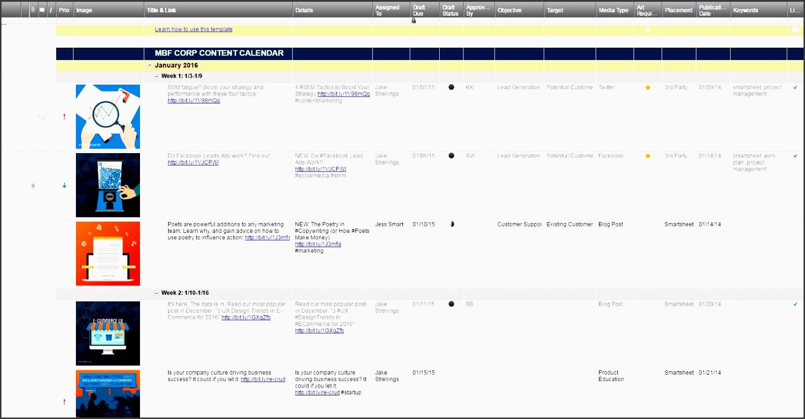 marketing calendar smartsheet