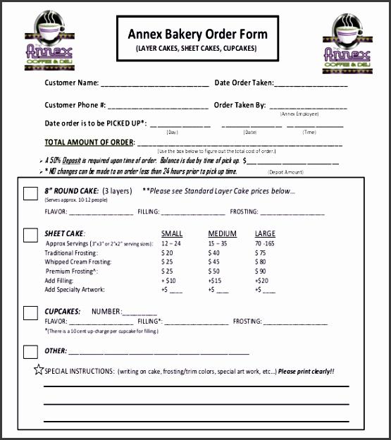 sample bakery order form free