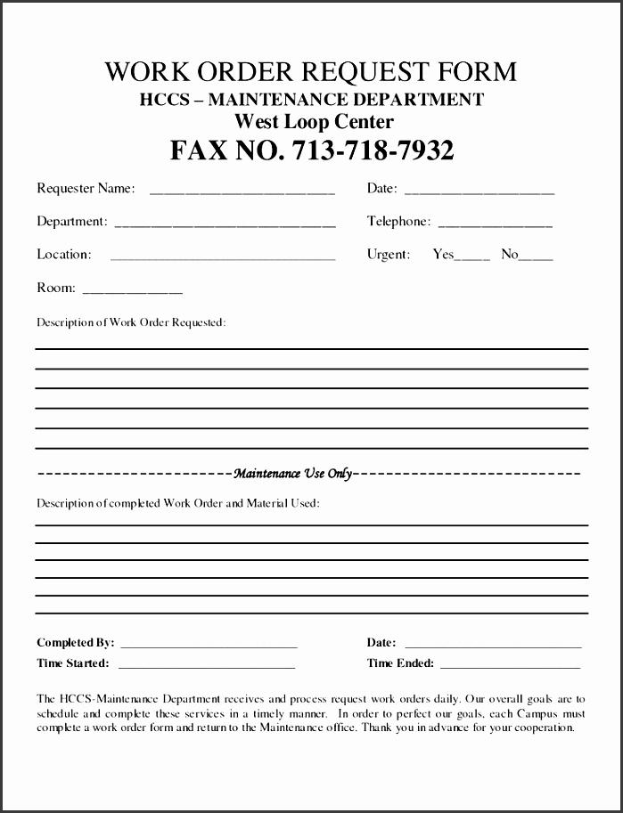 free customer work order request work order form doc