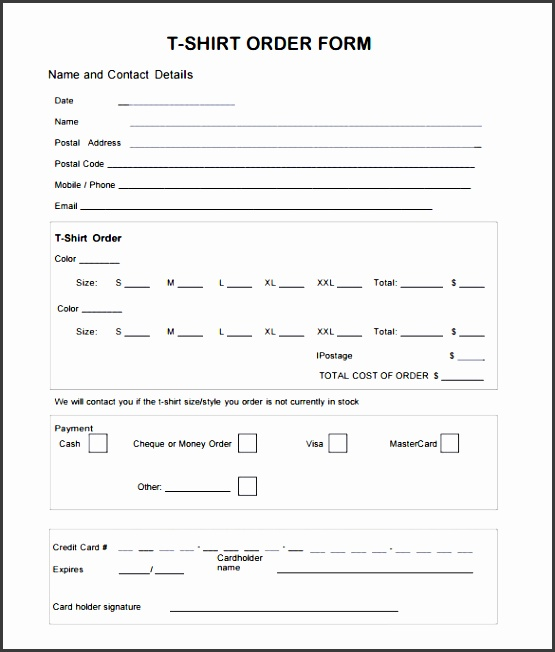 editable t shirt order form template pdf format