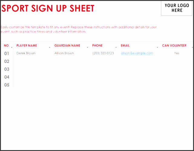 sport sign up sheet templates