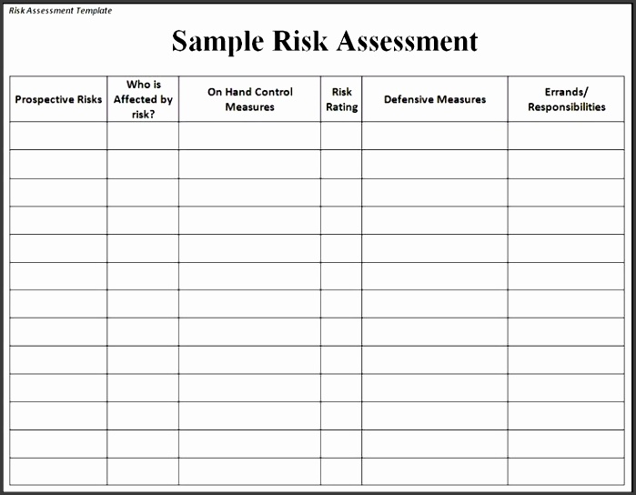 risk assessment template risk sample assessment template risk assessments pinterest template