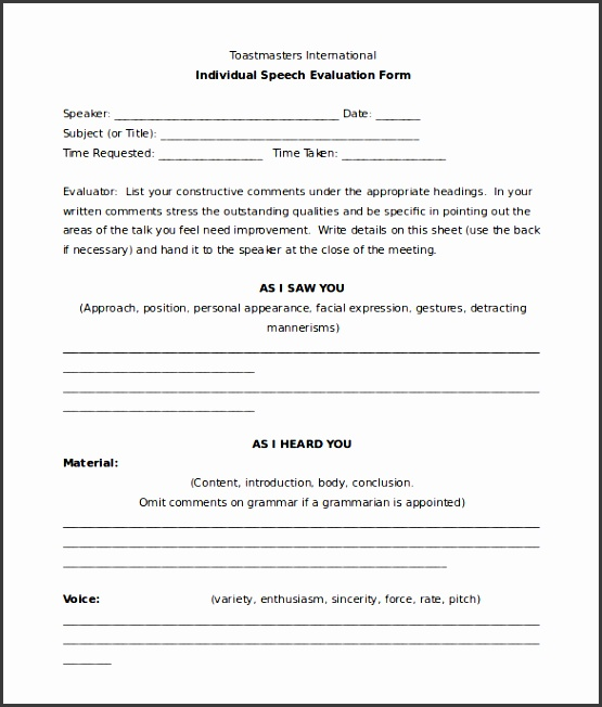 individual speech toastmasters evaluation form template