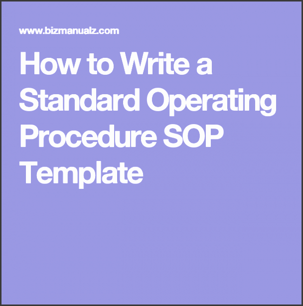 how to write a standard operating procedure sop template