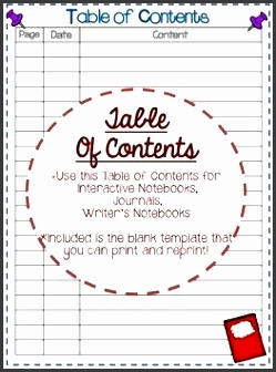 creative table of contents template to use with interactive notebooks journals writer s workshop
