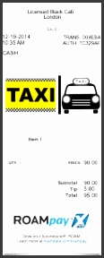 taxi receipt for taxi cab or limo service