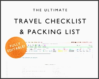 travel checklist travel packing list travel planning template pre populated and fully