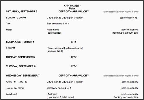 trip planner word document
