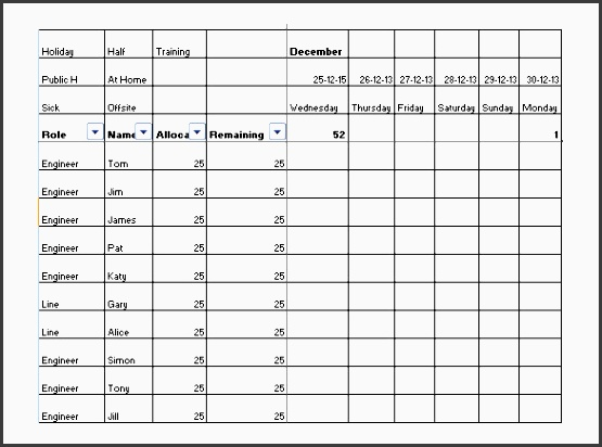 staff holiday vacation planner schedule excel