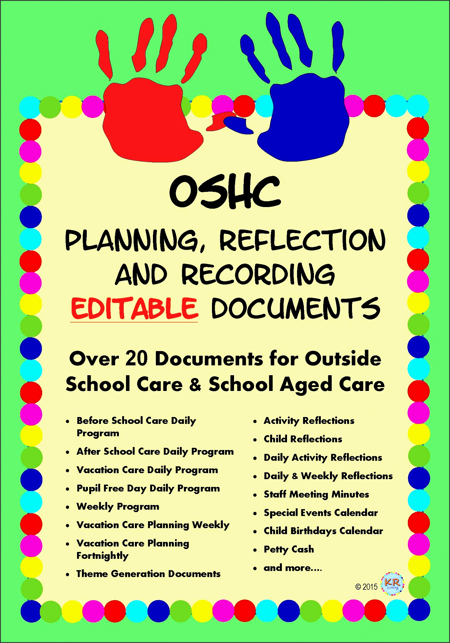 outside school care editable planning reflection and recording documents for oshc oosh ooshc