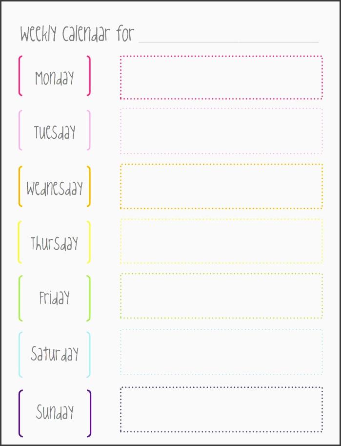 great weekly calendar template